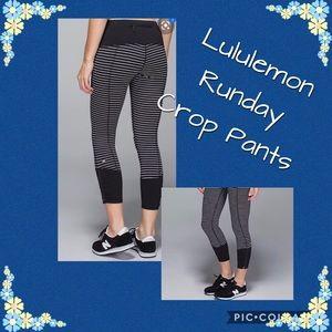 Lululemon Runday Crop Pants, Black/White Sz 6 EUC